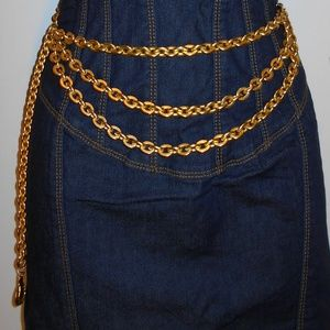 Rare Beautiful True Vintage gold chain metal belt